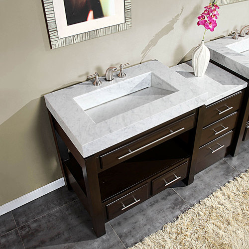 Silkroad 56 Moduler Bathroom Vanity Espresso Finish With White Carrara Marble Top