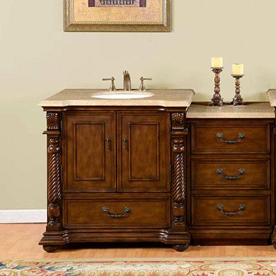 Accord Antique 57 inch Antique Bathroom Vanity Roman Vein-Cut Travertine Top