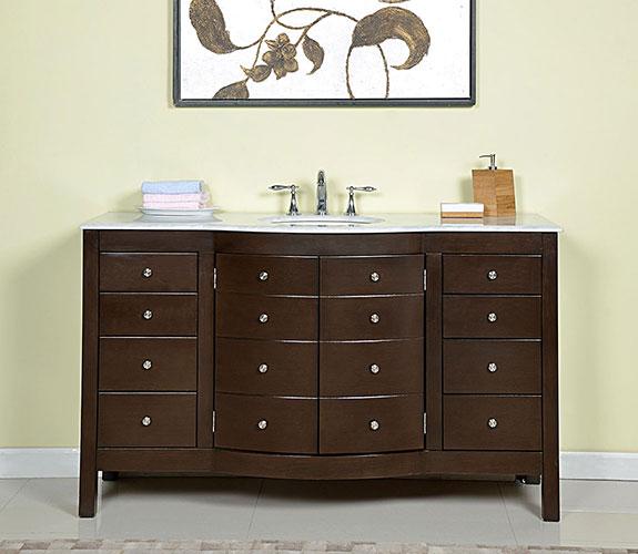 Accord 60 inch Contemporary Single Sink Bathroom Vanity Dark Walnut Finish