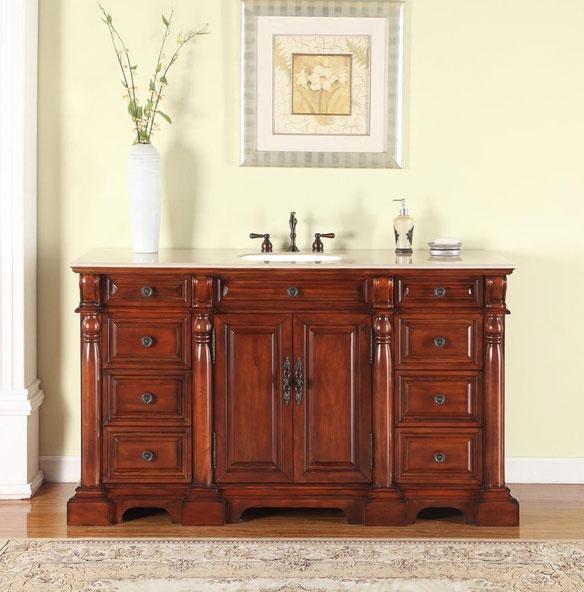 Avola 62 inch Antique Bathroom Vanity English Chestnut Finish