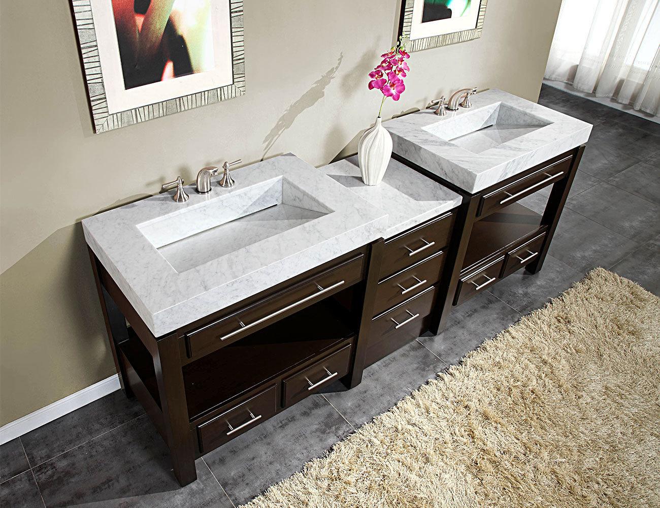 Silkroad 92 Moduler Bathroom Vanity Espresso Finish With White Carrara Marble Top