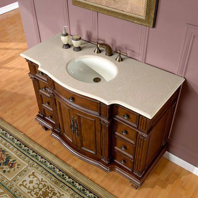 Accord Antique 48 inch Bathroom Single Sink Vanity Chestnut Finish