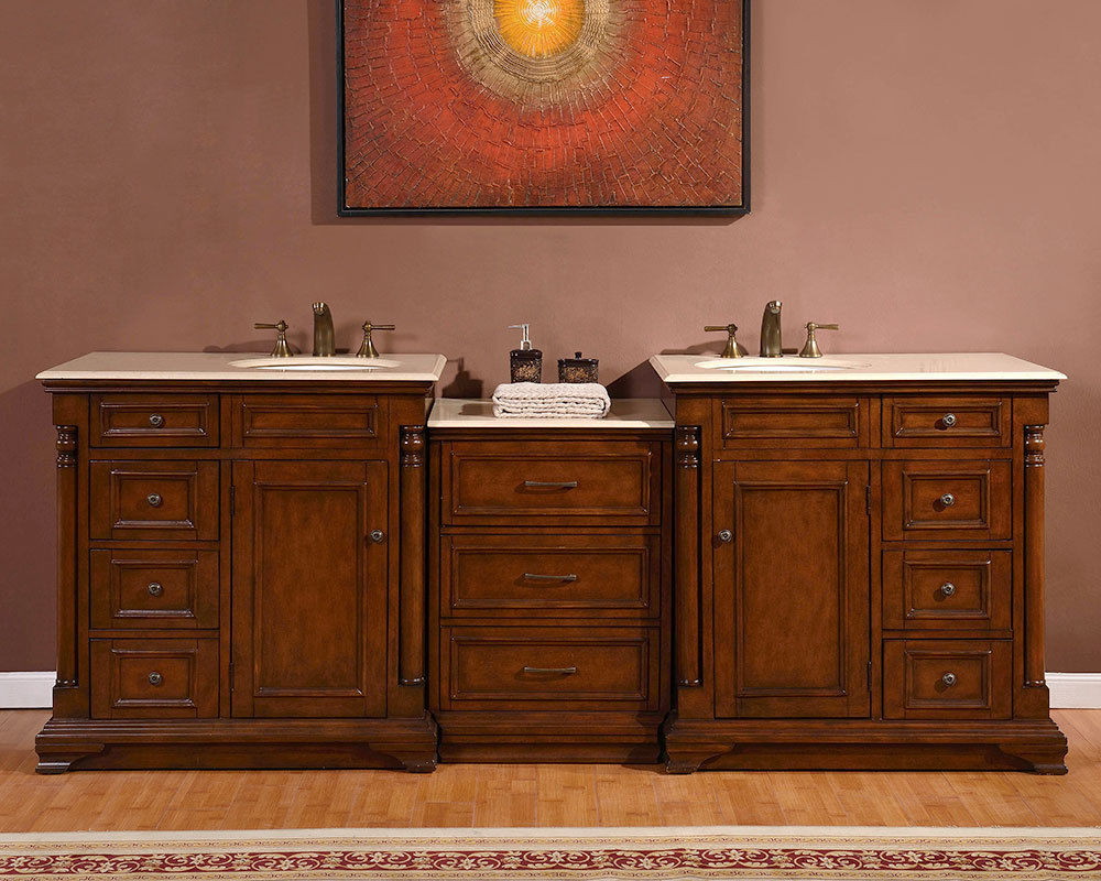 Accord Antique 92 inch Double Sink Bathroom Vanity Marble Top
