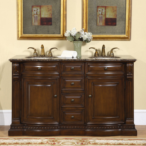 Accord Antique 60 inch Double Sink Bathroom Vanity with Counter Top Options