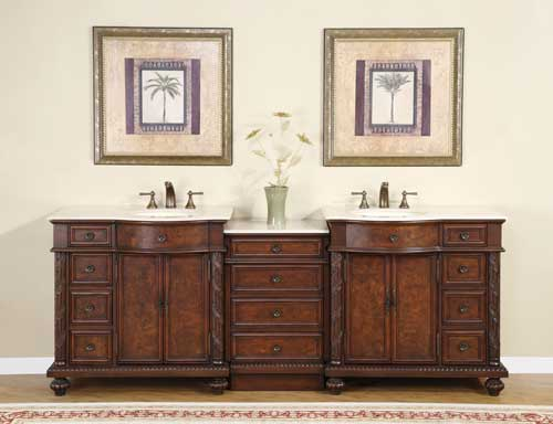 Accord Antique 90 inch Double Sink Bathroom Vanity Crema Marfil Top
