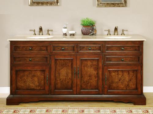 Accord Antique 72 inch Double Sink Bathroom Vanity Travertine Countertop