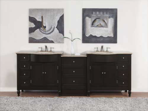 Accord Contemporary 95 inch Traditional Double Bathroom Vanity Travertine Top
