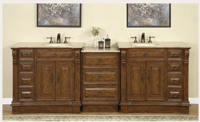 Accord Antique 95 inch Double Sink Bathroom Vanity Travertine Countertop