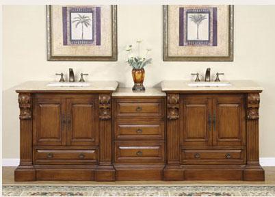 Accord Antique 95 inch Double Bathroom Vanity Travertine Countertop
