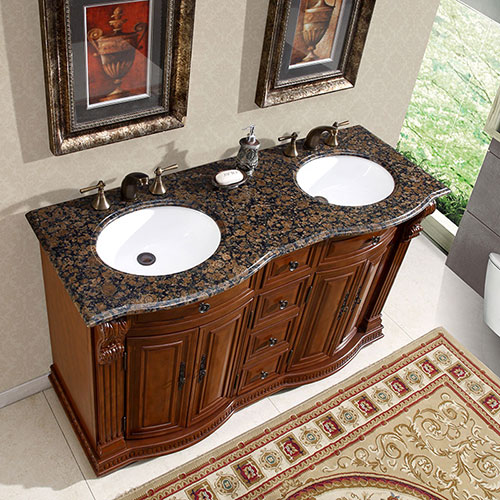 Accord Antique 55 inch Double Sink Vanity Baltic Brown Granite Top