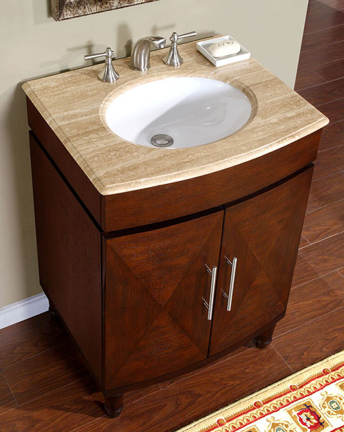 Accord Contemporary 26 inch Bathroom Vanity Dark Chestnut Finish