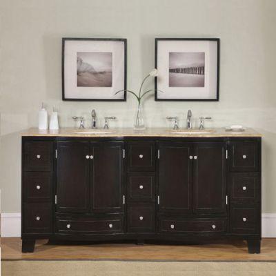 Accord Contemporary 72 inch Double Sink Bathroom Vanity Travertine Top
