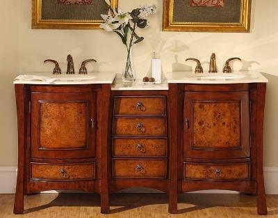 Accord Antique 67 inch Rich Cherry Double Sink Bathroom Vanity