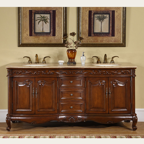 """Accord Antique 72"""" Double Sink Cabinet - Travertine Top, Undermount Ivory Ceramic Sinks (3-hole)"""