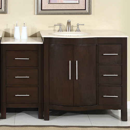 Silkroad 53 Inch Modular Traditional Bathroom Vanity Cream Marfil Counter Top