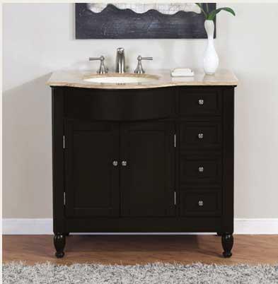 Accord Contemporary 36 inch Traditional Single Sink Bathroom Vanity Travertine Top
