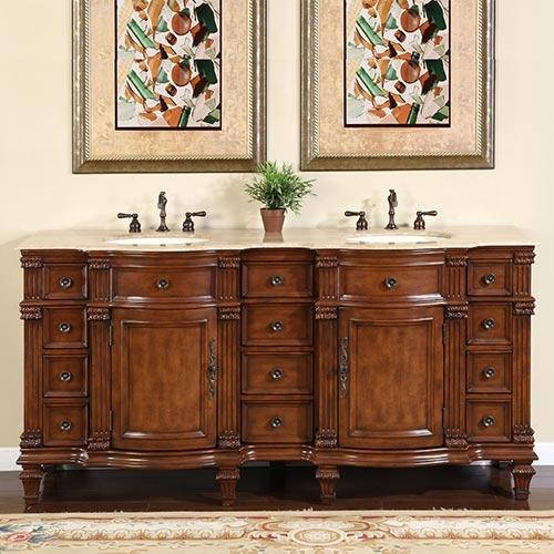 Accord 72 inch Antique Double Sink Bathroom Vanity