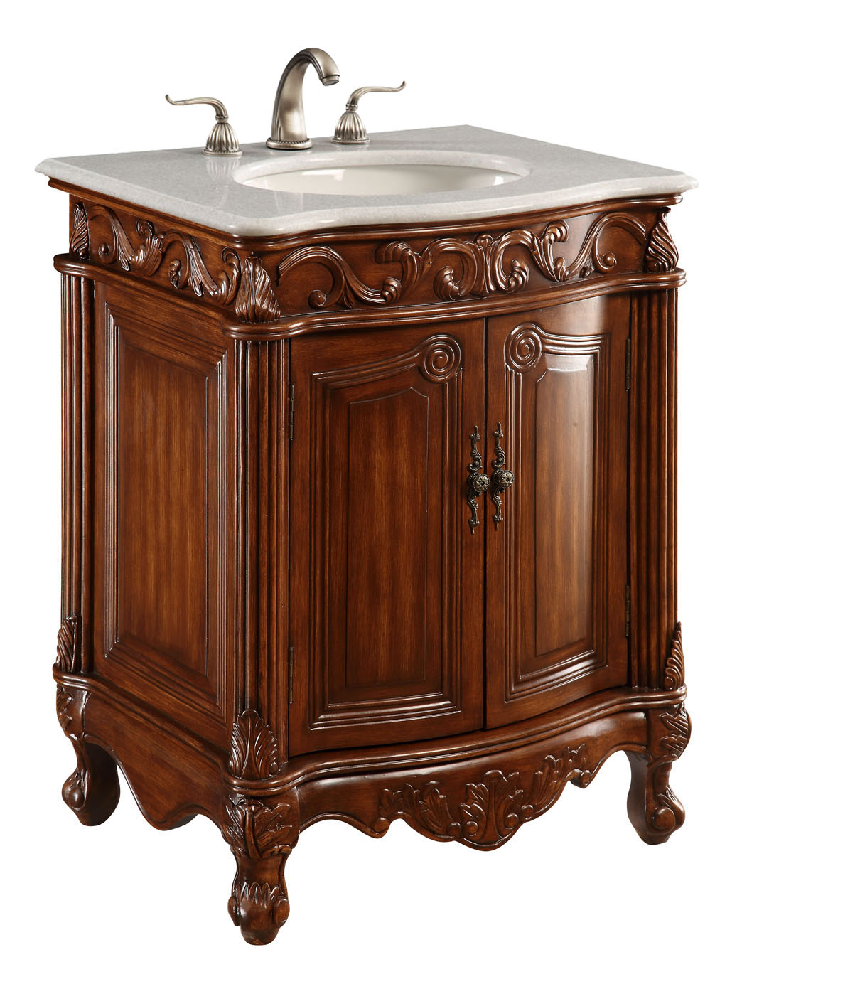 """27"""" Deep Chestnut Finish with Imperial White Marble Top and Matching Medicine Cabinet"""