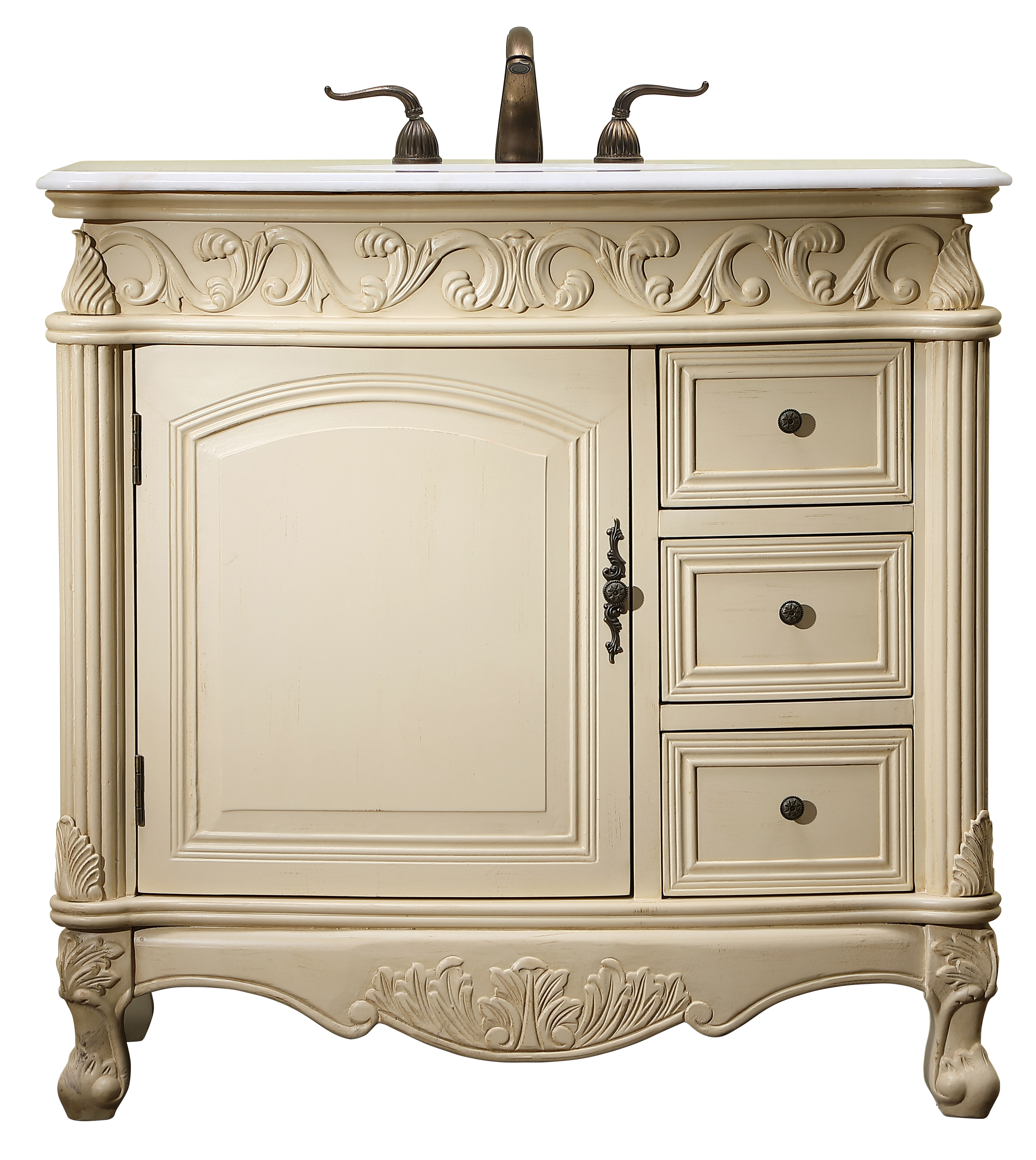 """36"""" Antique Ivory with Matching Medicine Cabinet, Imperial White Marble Top"""