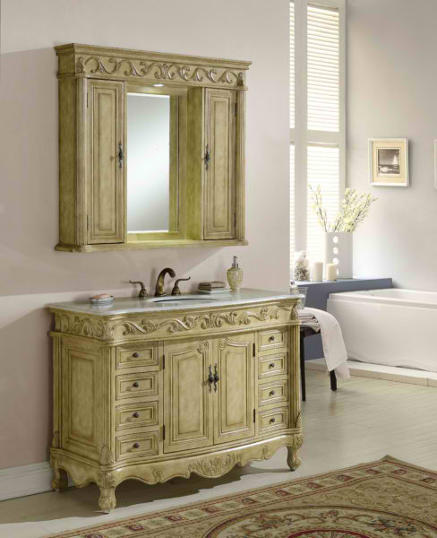 "48"" Tan with Matching Medicine Cabinet, Cream Marble Top"