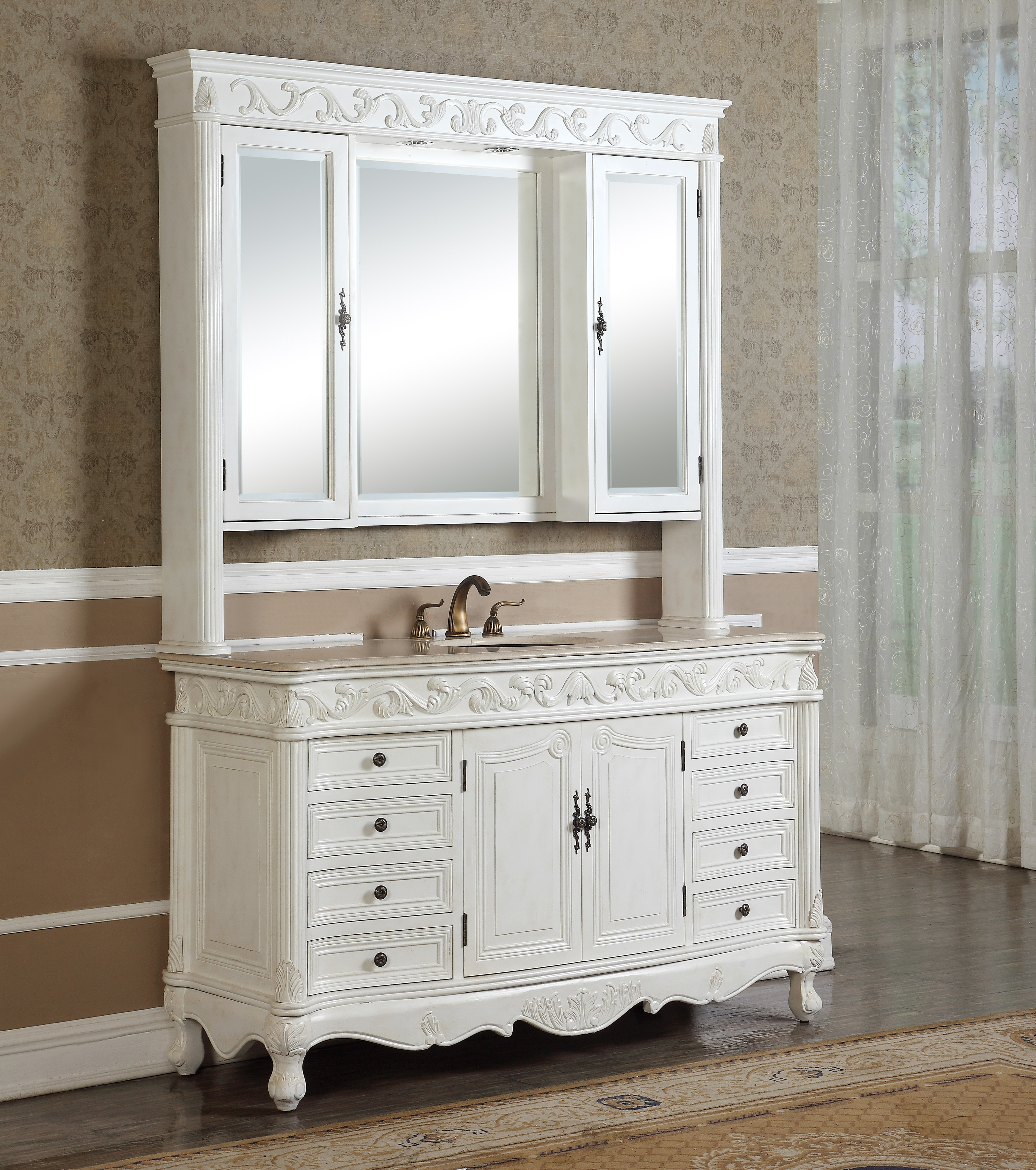 """60"""" Antique White with Matching Medicine Cabinet, Mirror, and Linen Cabinet option, Imperial White Marble Top"""