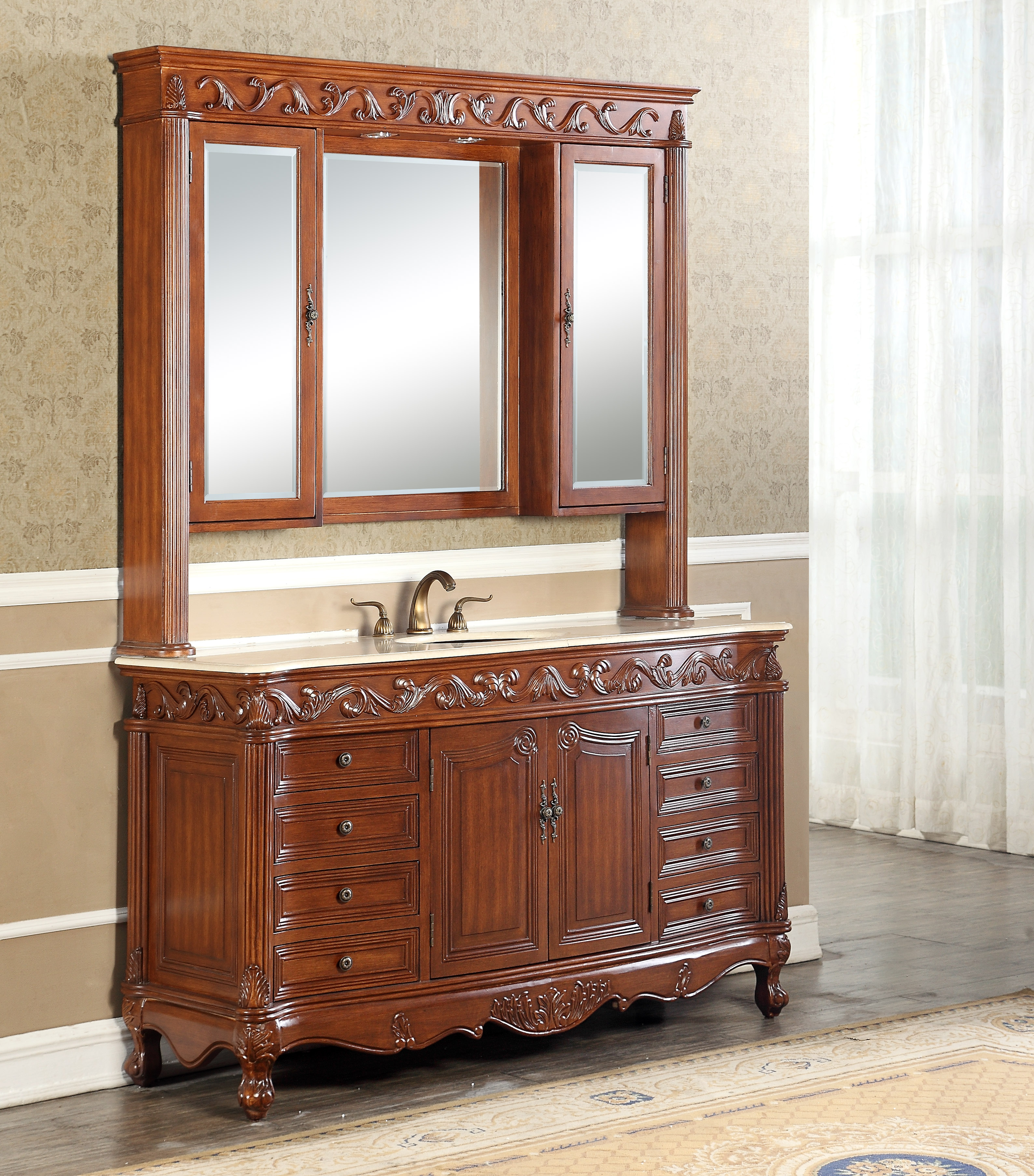 """60"""" Antique Deep Chestnut with Matching Medicine Cabinet, Imperial White Marble Top"""