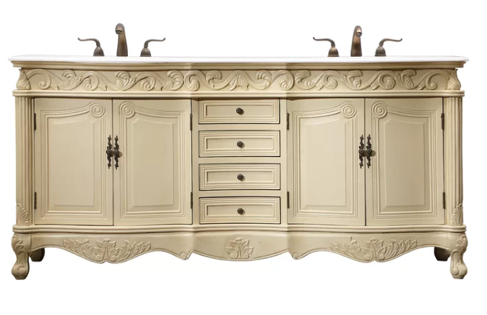 """72"""" Antique Ivory Finish with Imperial White Marble Top and Matching Medicine Cabinet"""