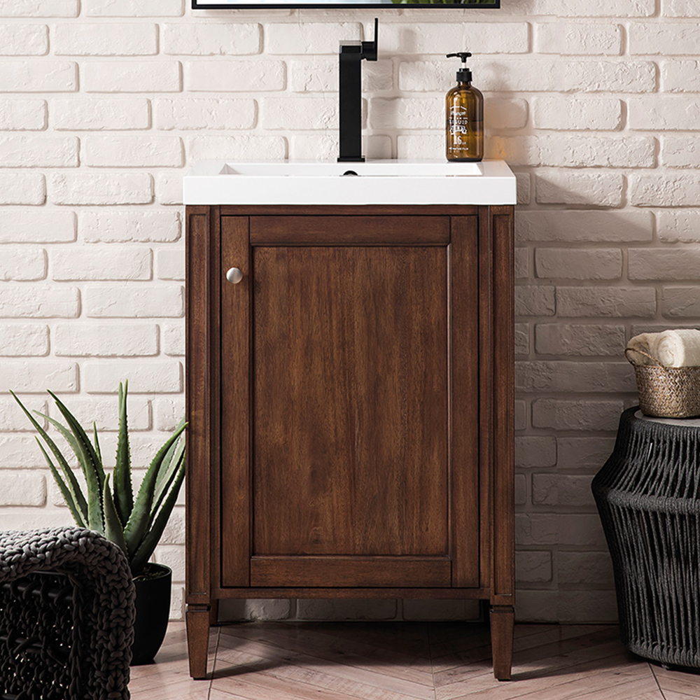 "James Martin Brittania Collection 24"" Single Vanity Cabinet, Mid Century Acacia w/ White Glossy Resin Countertop"