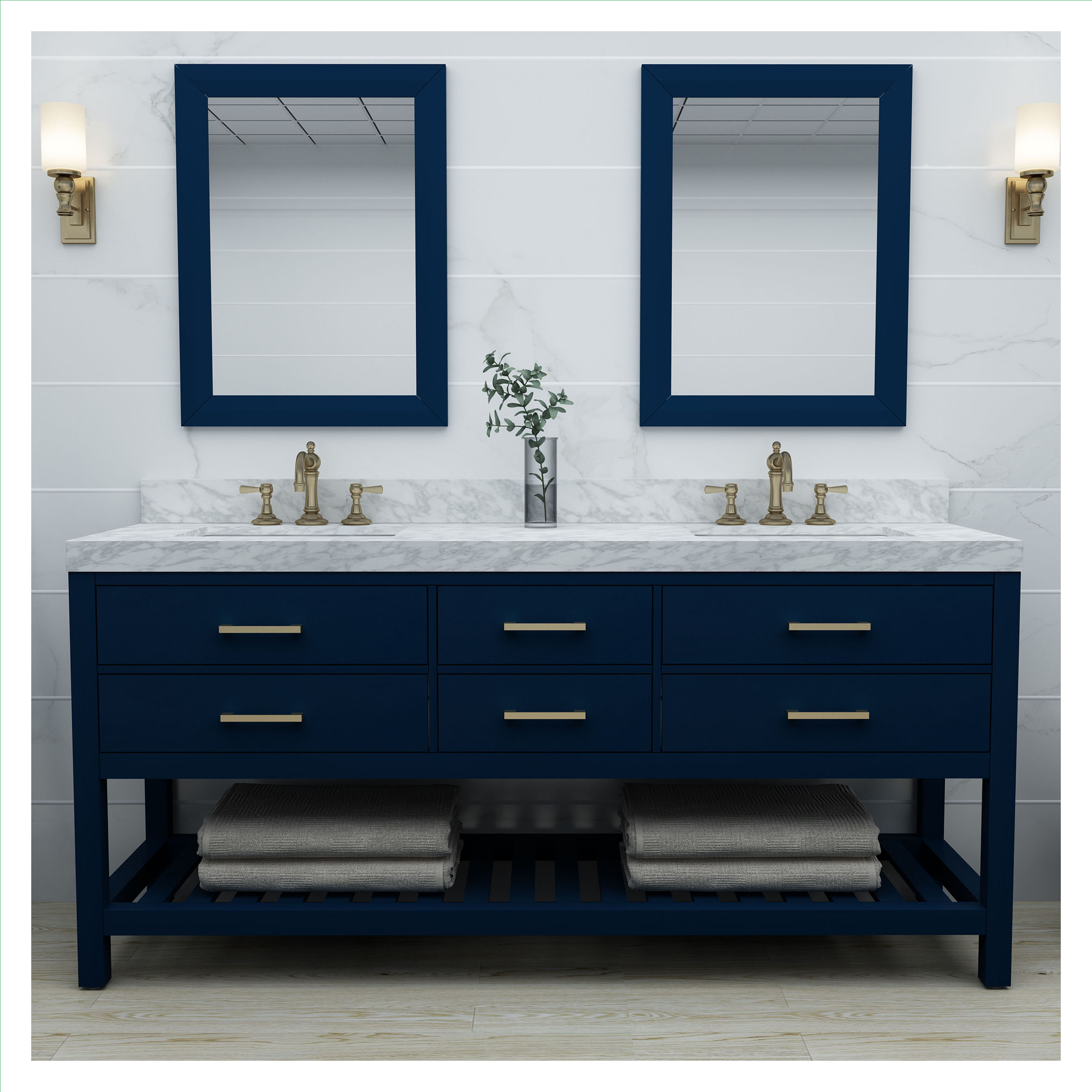 """72"""" Double Sink Bath Vanity Set in Heritage Blue with Italian Carrara White Marble Vanity top and White Undermount Basin with Gold Hardware"""