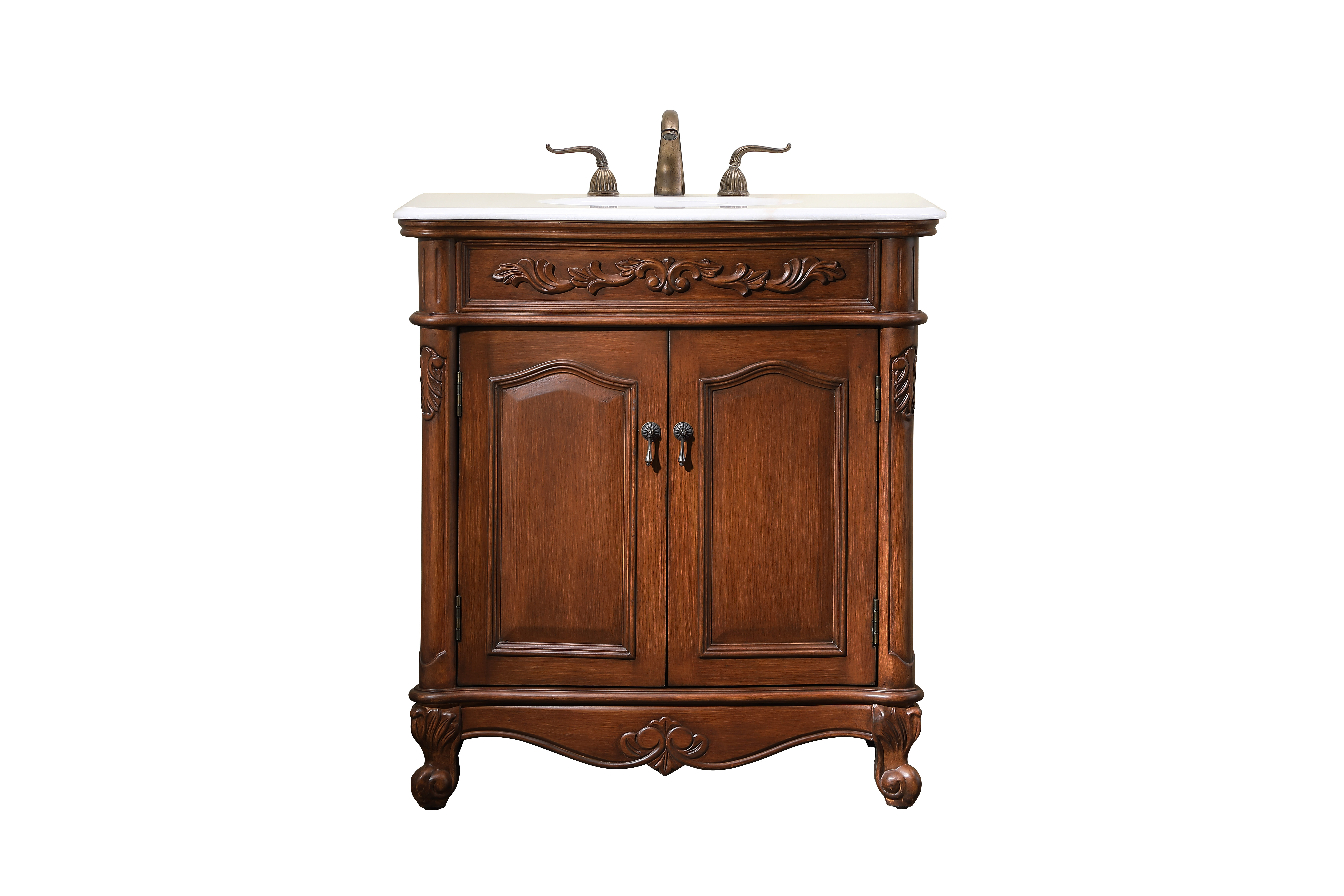 "32"" Deep Chestnut Finish Vanity with Victorian Style Leg"