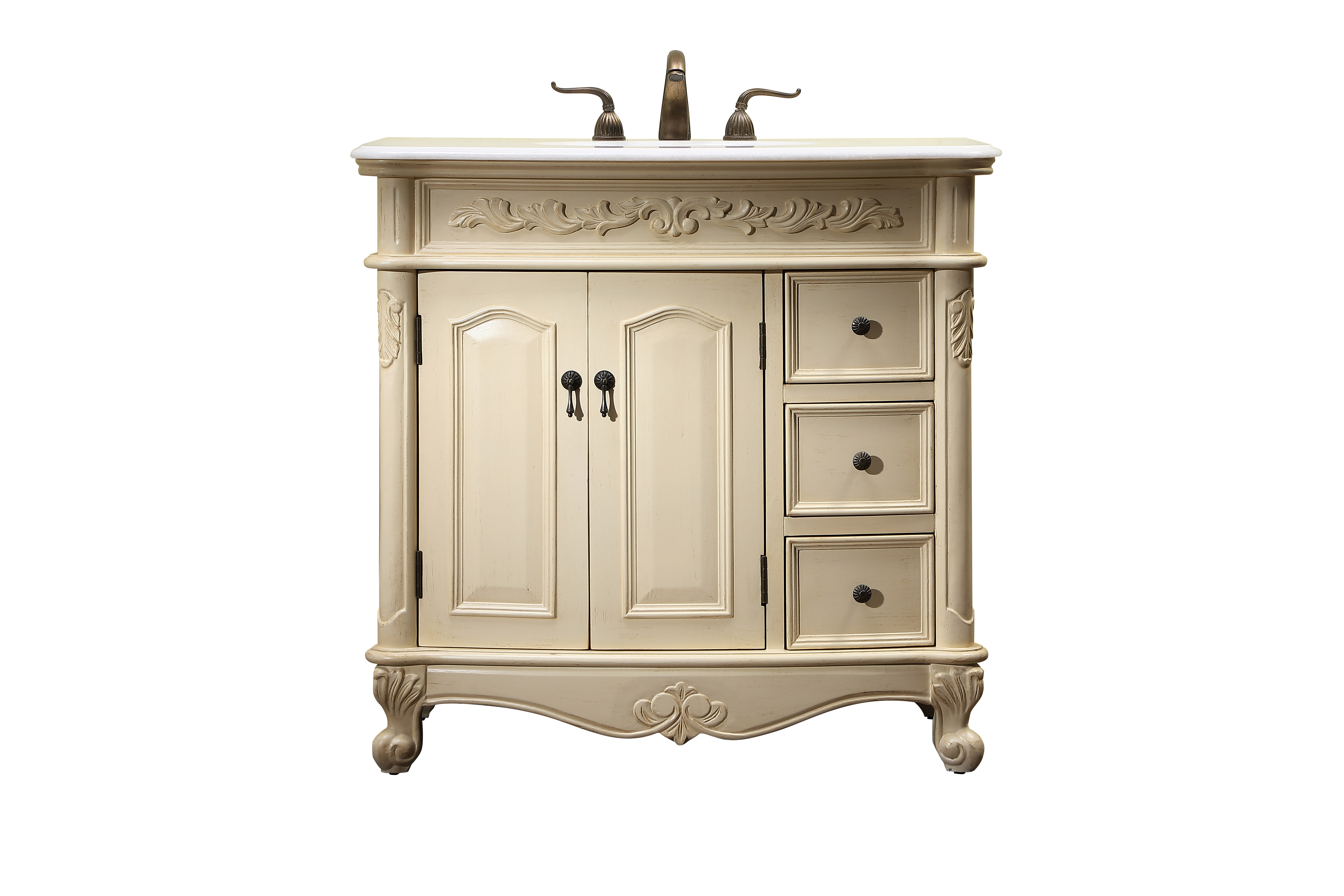 """36"""" Antique Ivory Finish Vanity Victorian Style Leg with White Marble Top"""