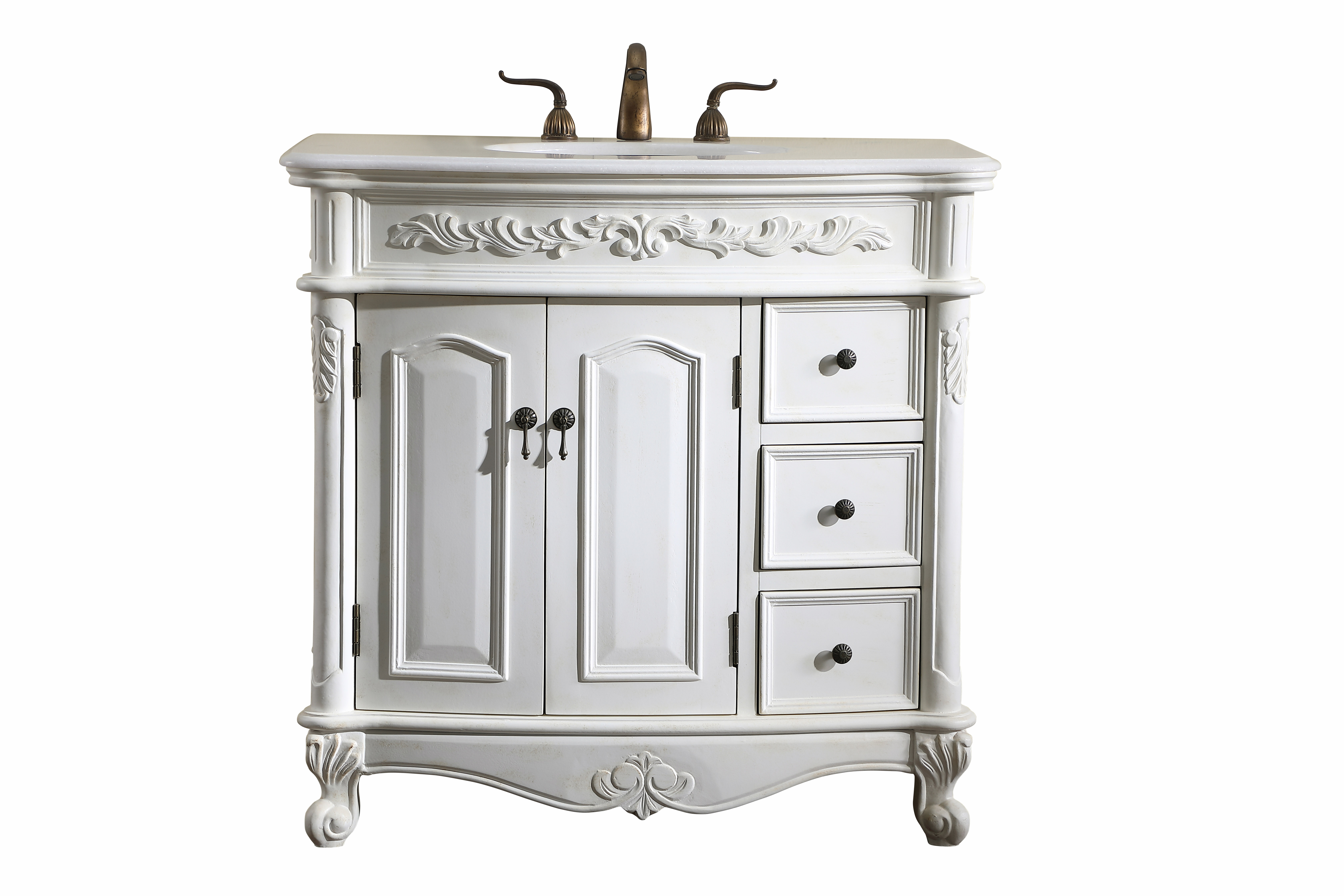 """36"""" Antique White Finish Vanity Victorian Style Leg with White Imperial Marble Top"""