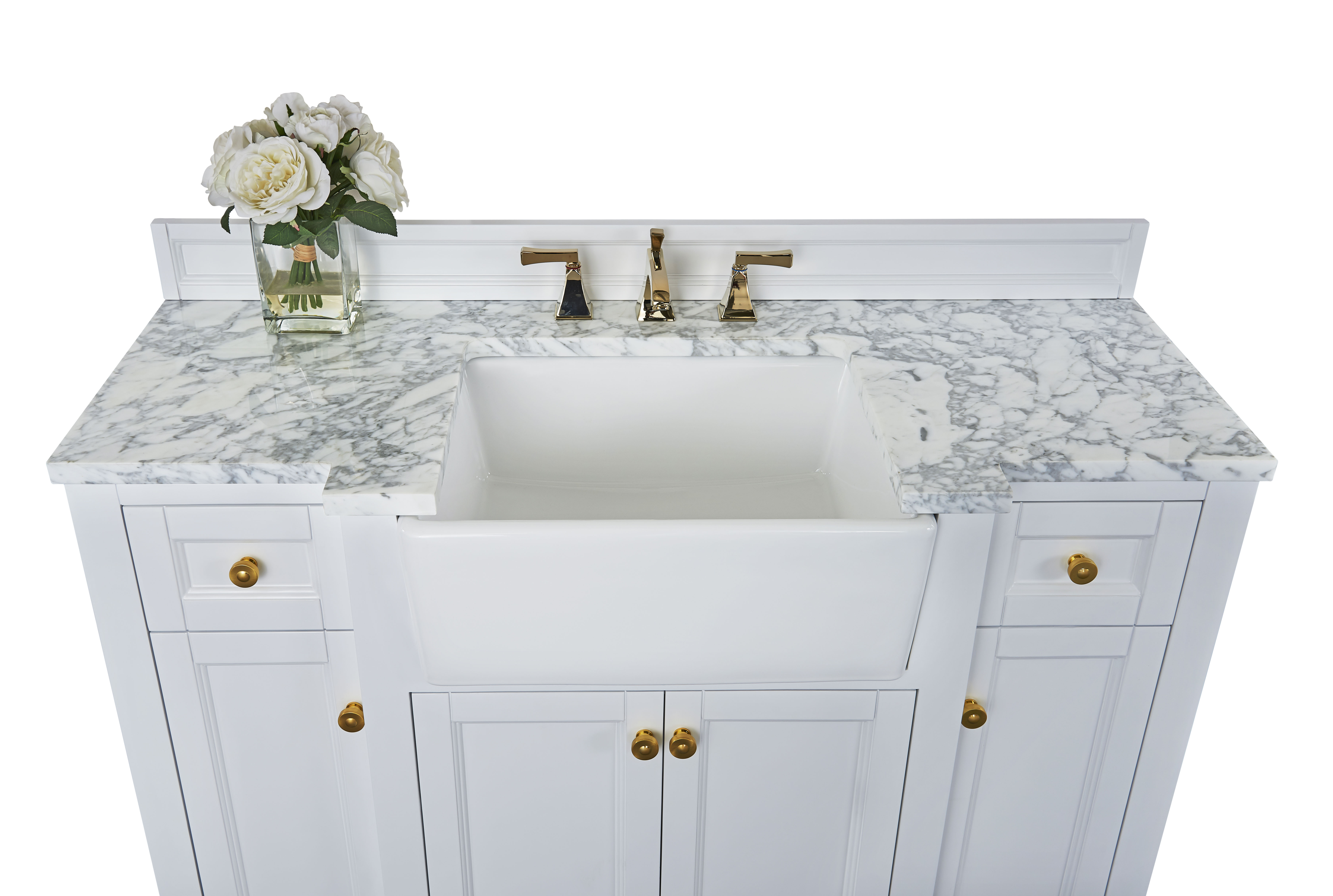 "48"" Bath Vanity Set in White with Italian Carrara White Marble Vanity Top and White Undermount Basin with Gold Hardware"