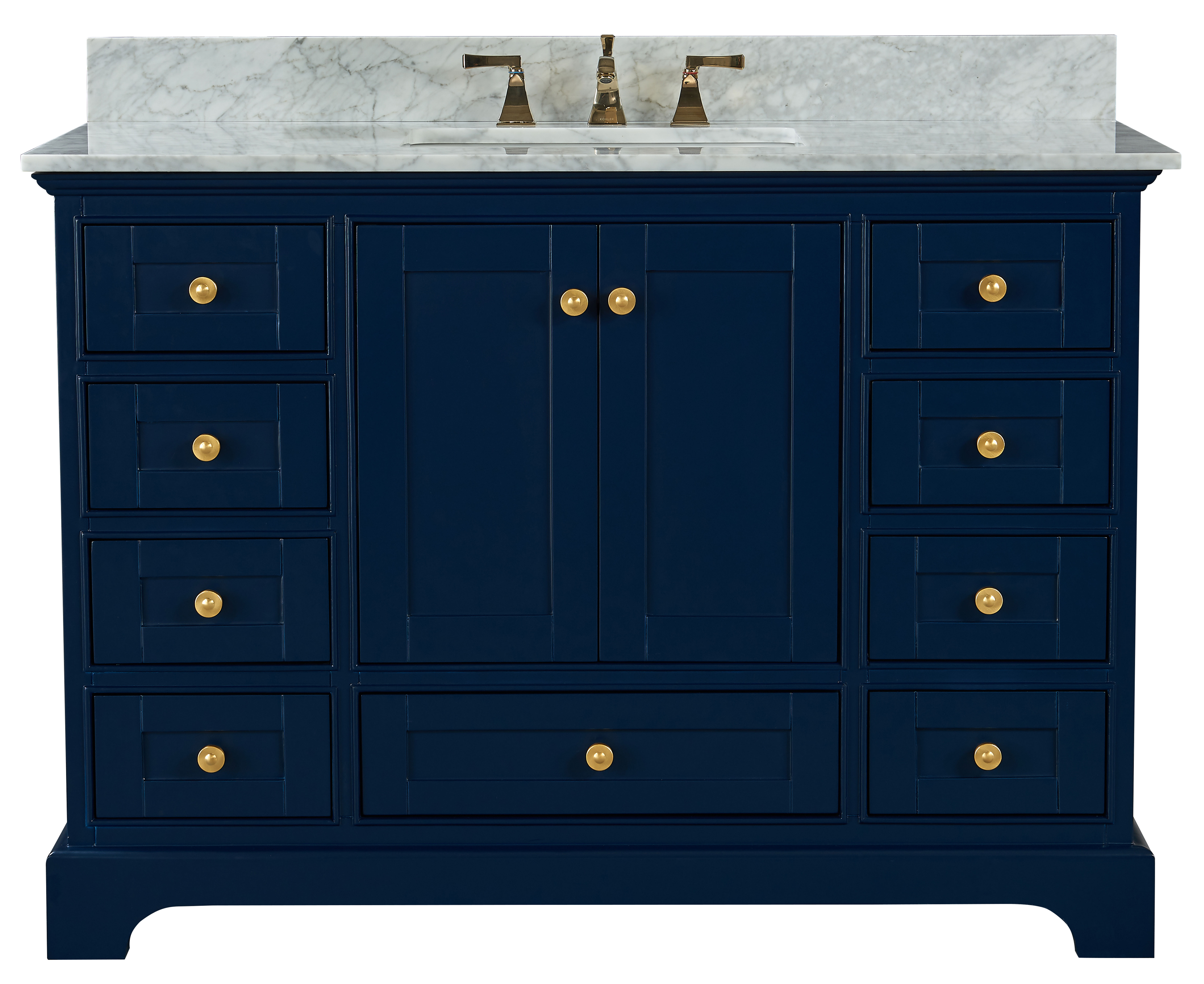 """48"""" Bath Vanity Set in Heritage Blue with Italian Carrara White Marble Vanity Top and White Undermount Basin with Gold Hardware with Mirror Option"""