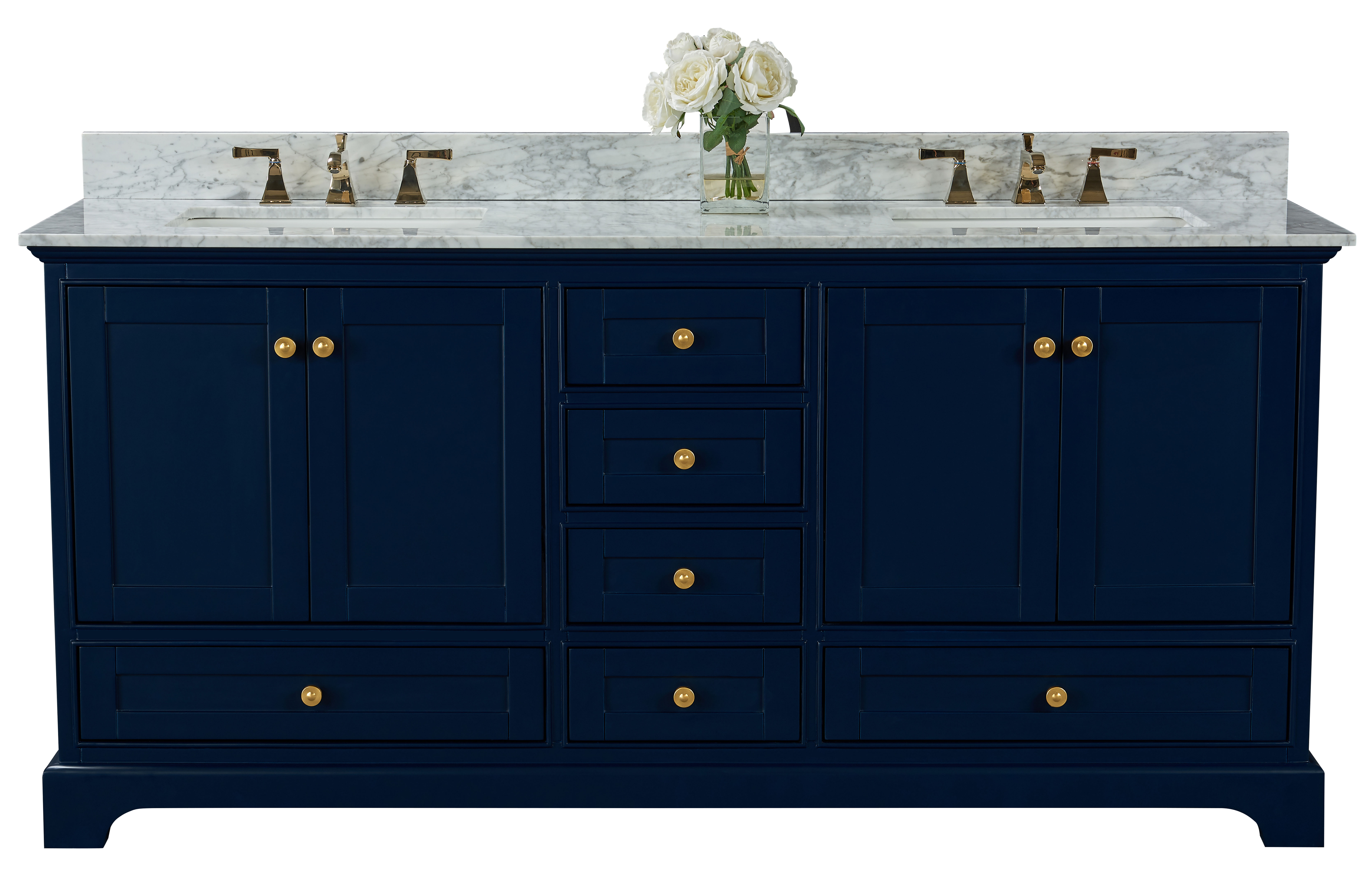 "72"" Bath Vanity Set in Heritage Blue with Italian Carrara White Marble Vanity top and White Undermount Basin with Gold Hardware with Color Options"