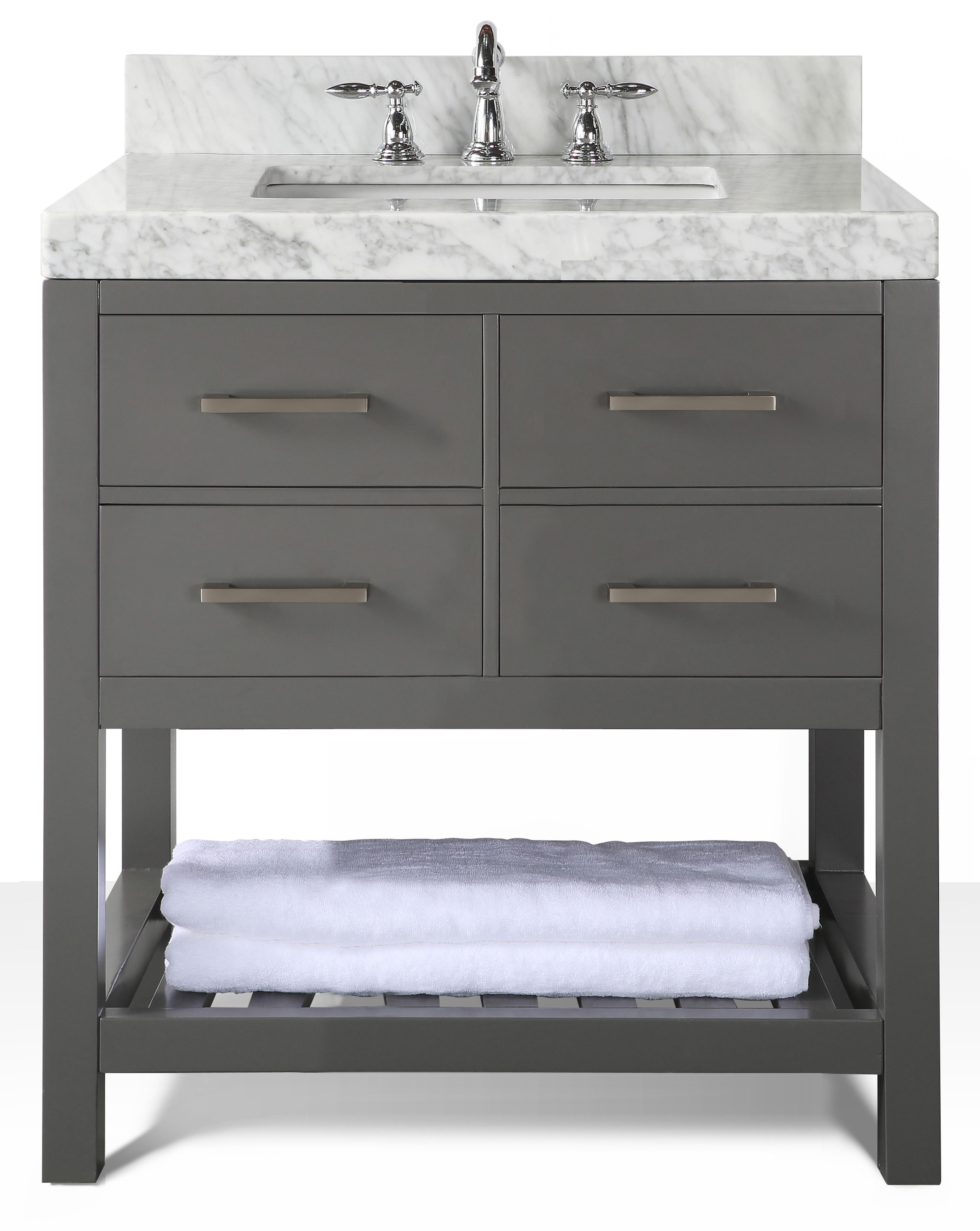"36"" Single Sink Bath Vanity Set in Sapphire Gray with Italian Carrara White Marble Vanity top and White Undermount Basin"