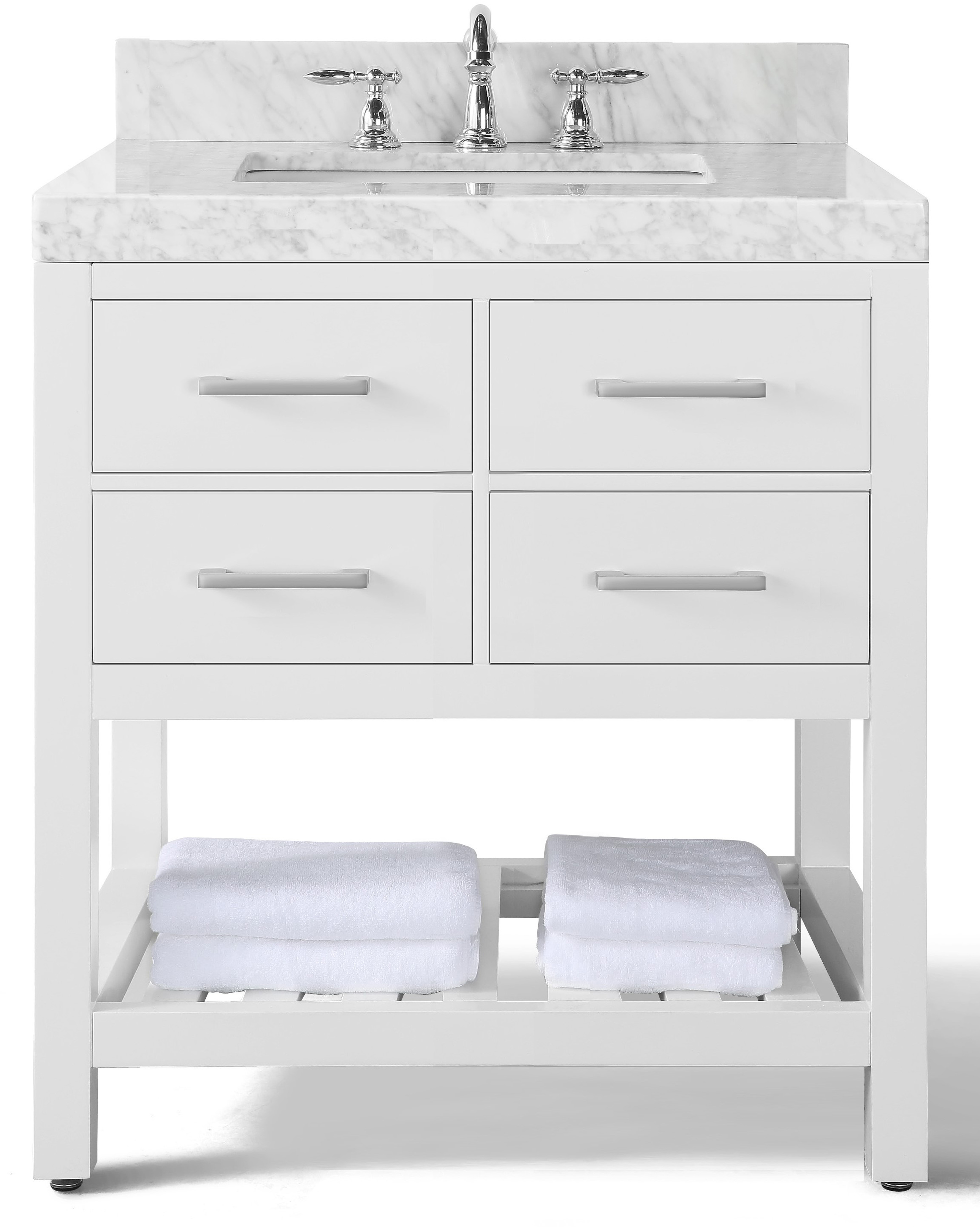 "36"" Single Sink Bath Vanity Set in White with Italian Carrara White Marble Vanity top and White Undermount Basin"