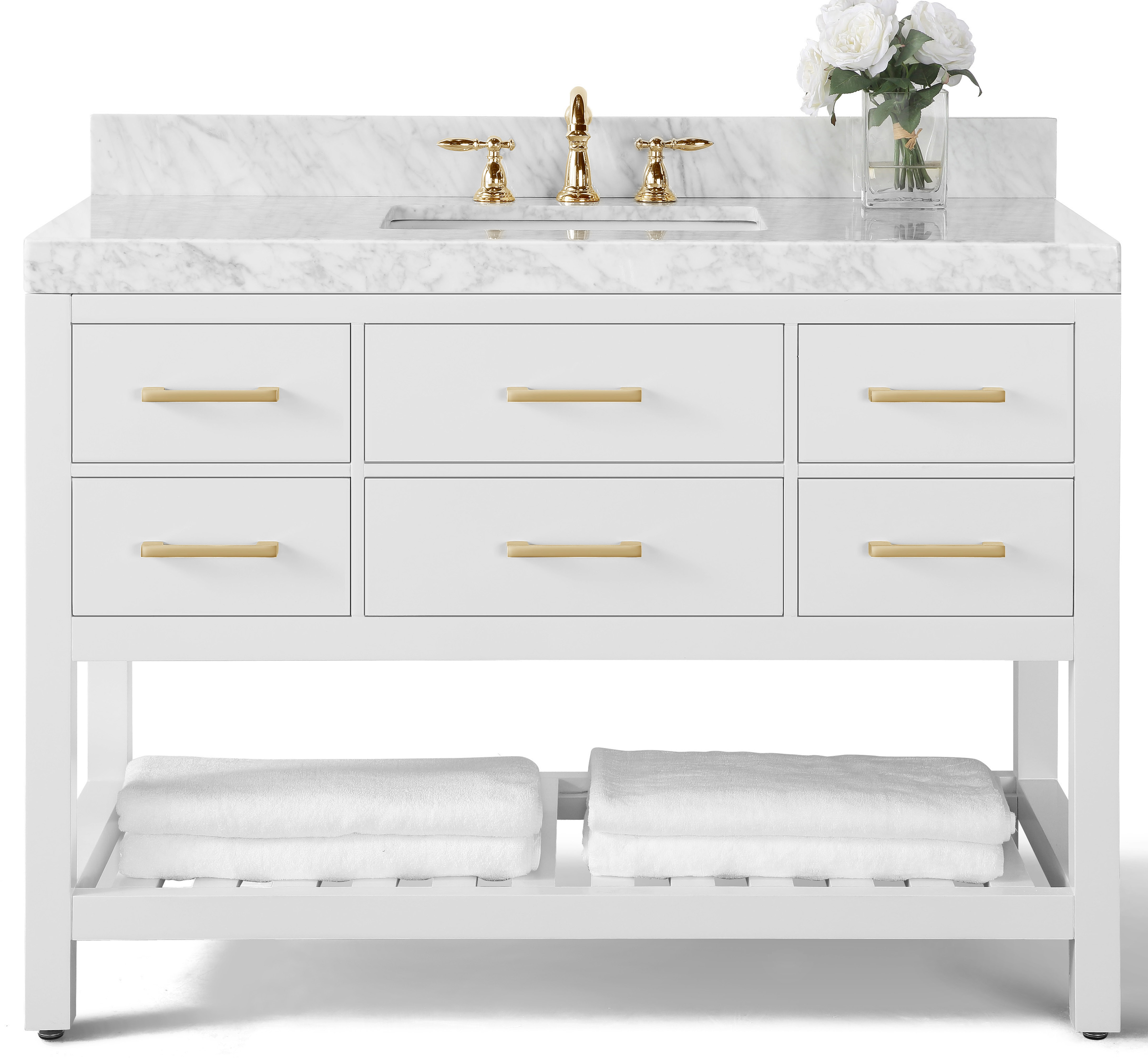 """48"""" Bath Vanity Set in White with Italian Carrara White Marble Vanity top and White Undermount Basin and 28"""" White Mirror"""