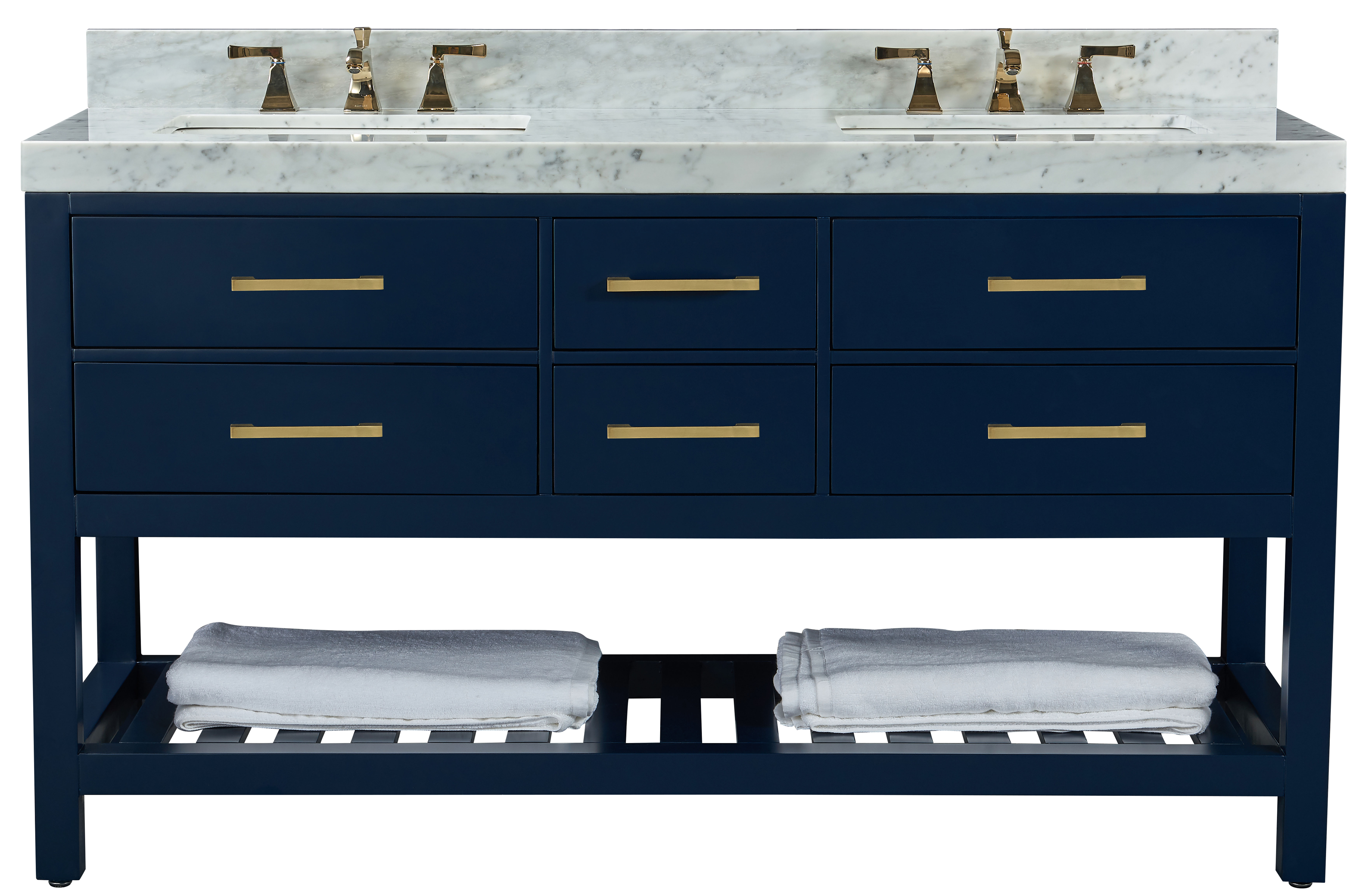 """60"""" Double Sink Bath Vanity Set in Heritage Blue with Italian Carrara White Marble Vanity top and White Undermount Basin"""