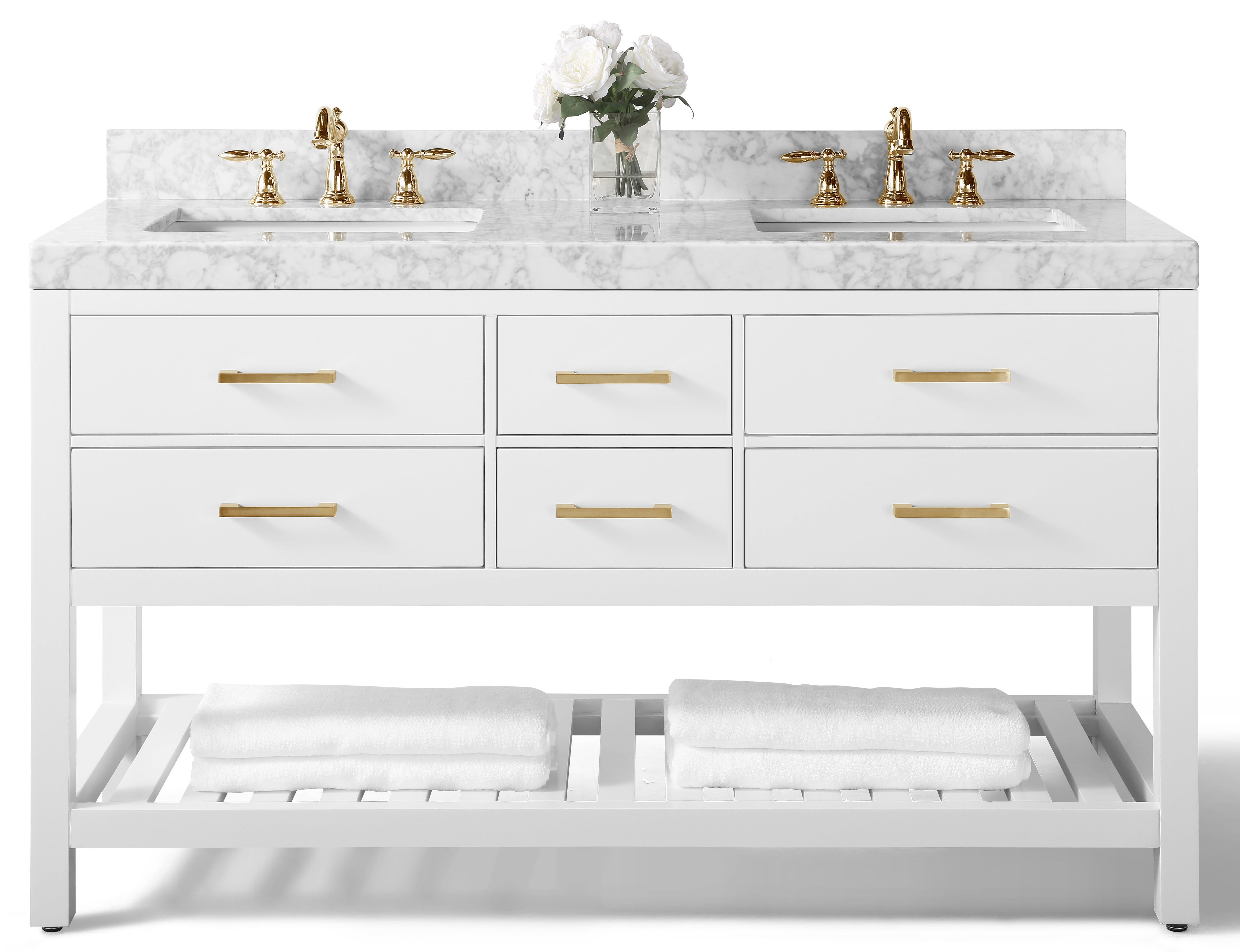 """60"""" Double Sink Bath Vanity Set in White with Italian Carrara White Marble Vanity top and White Undermount Basin with Top and Mirror Options"""