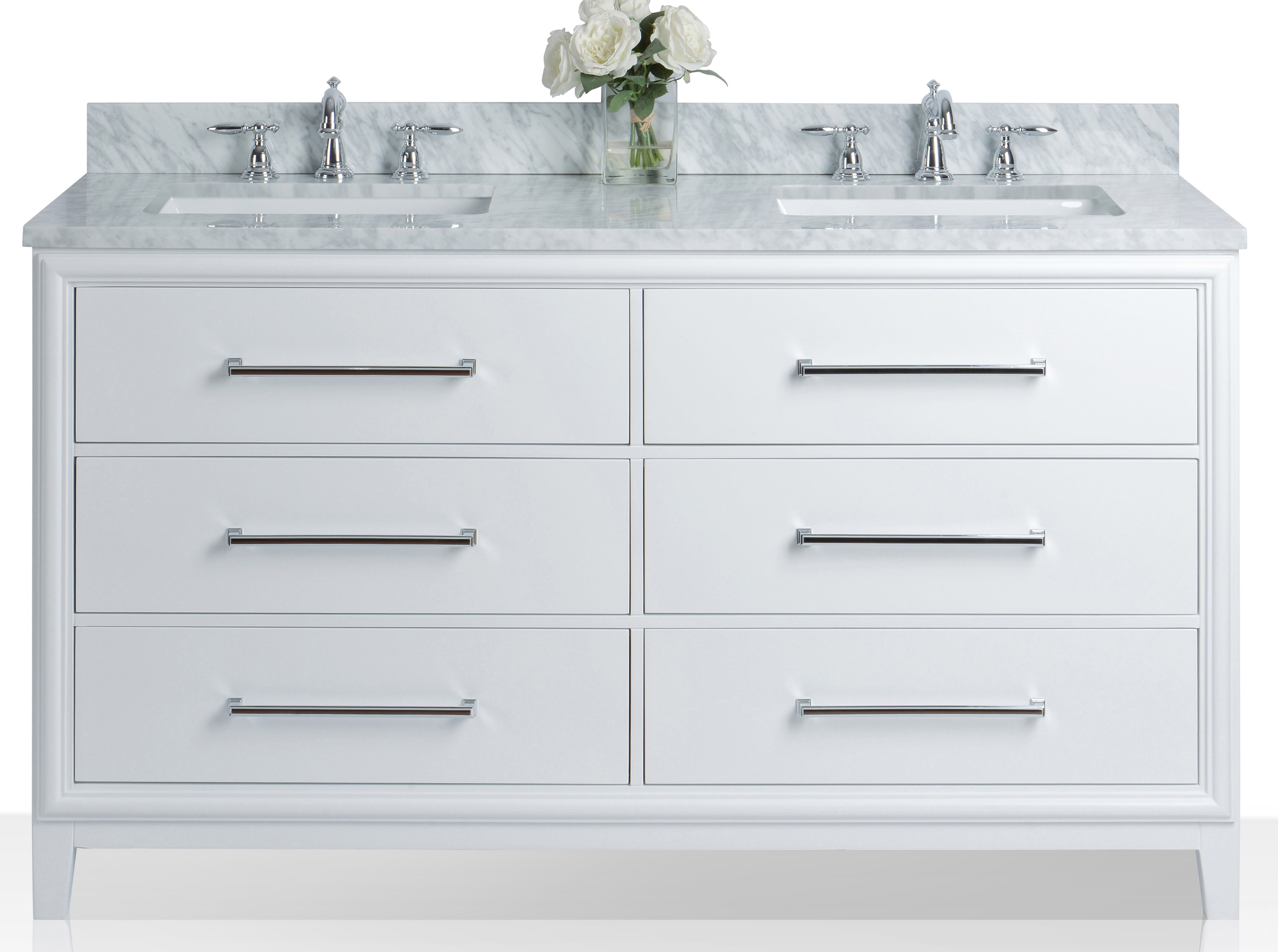 "60"" Bath Vanity Set in White with Italian Cararra White Marble Vanity Top and White Undermount Basins (No Mirror)"