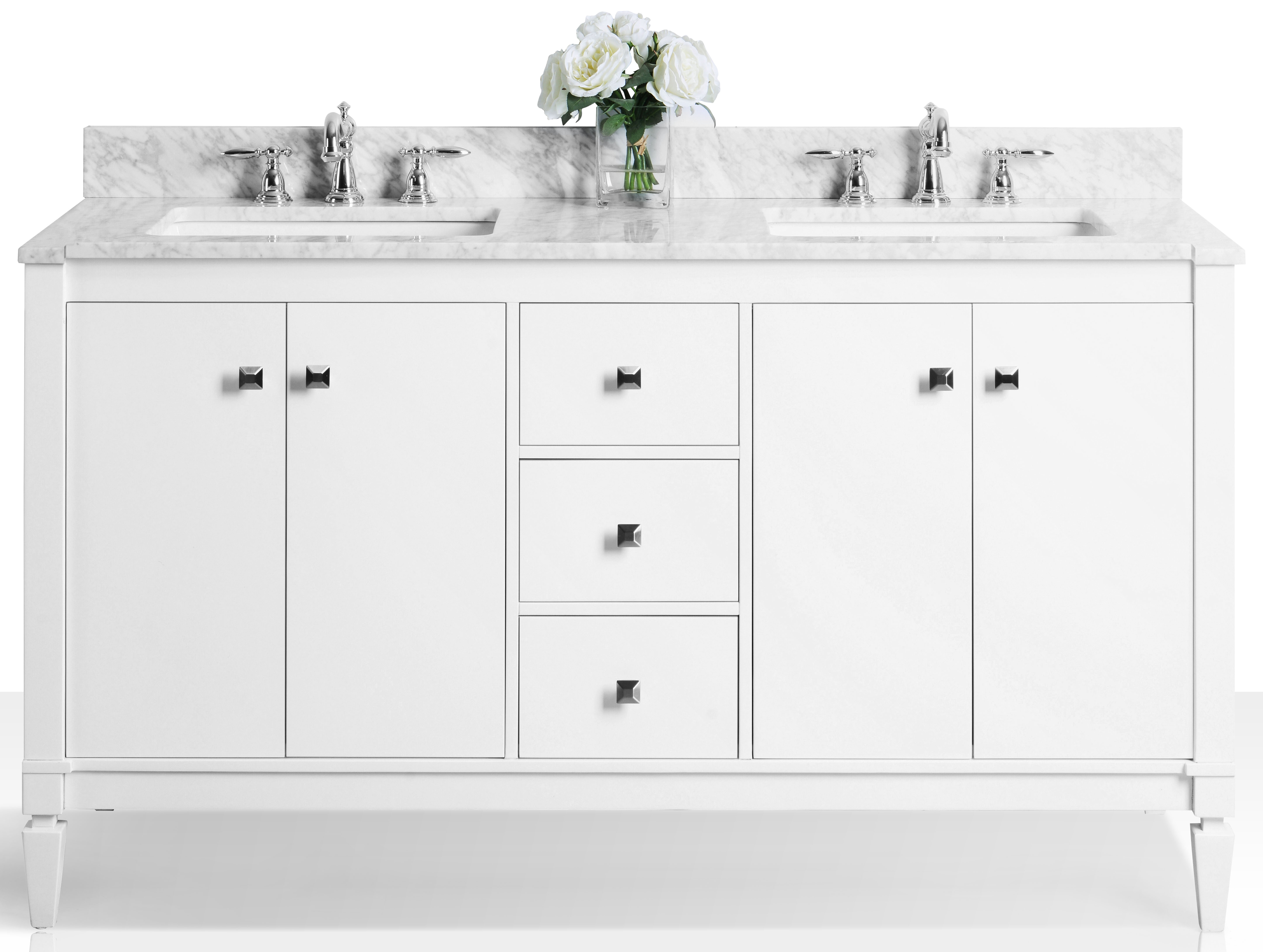 """60"""" Double Sink Bath Vanity Set in White Finish with Italian Carrara White Marble Vanity top and White Undermount Basin"""