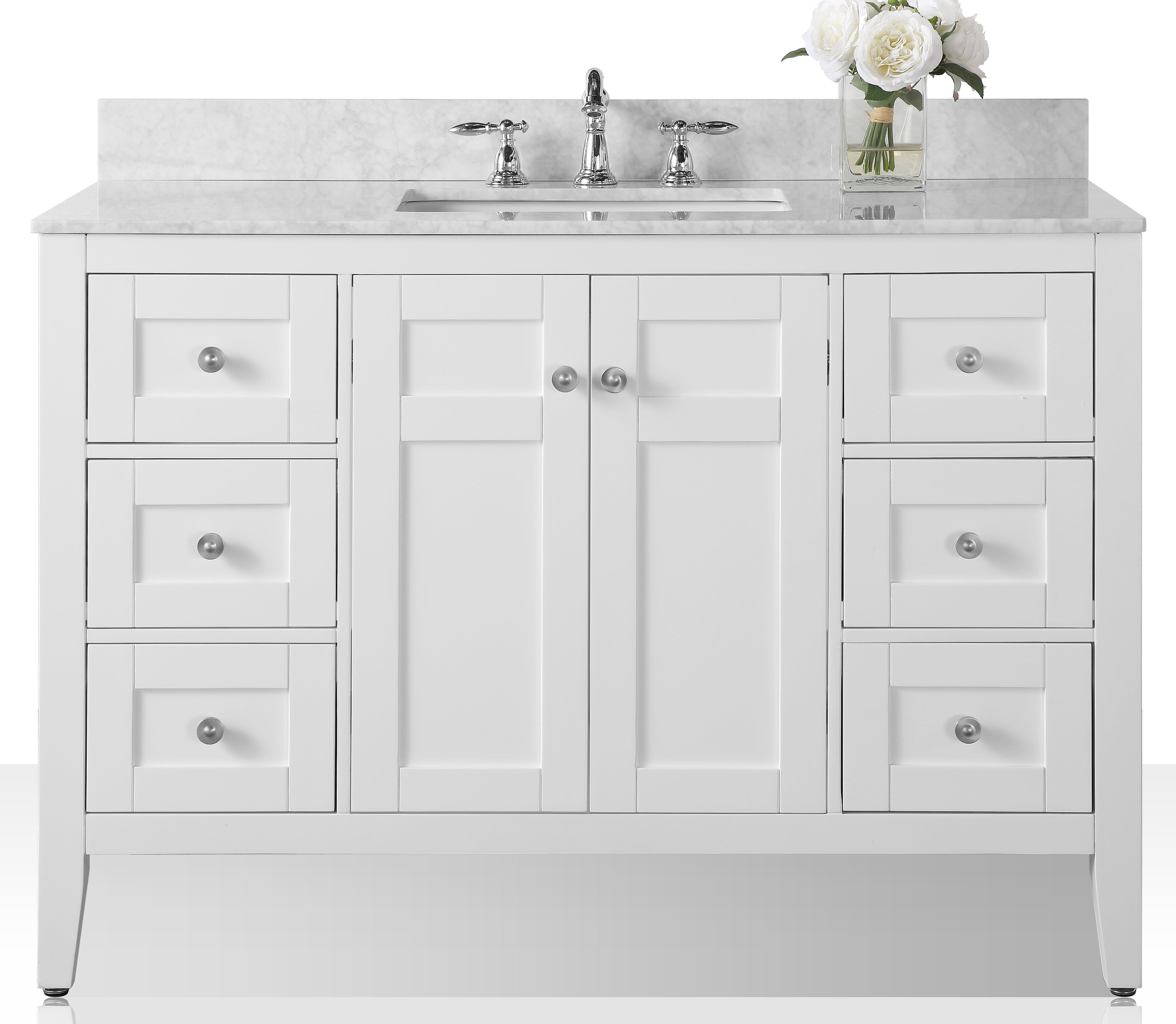 "48"" Bath Vanity Set in White with Natural Marble Vanity Top in Galala Beige and White Undermount Basin"