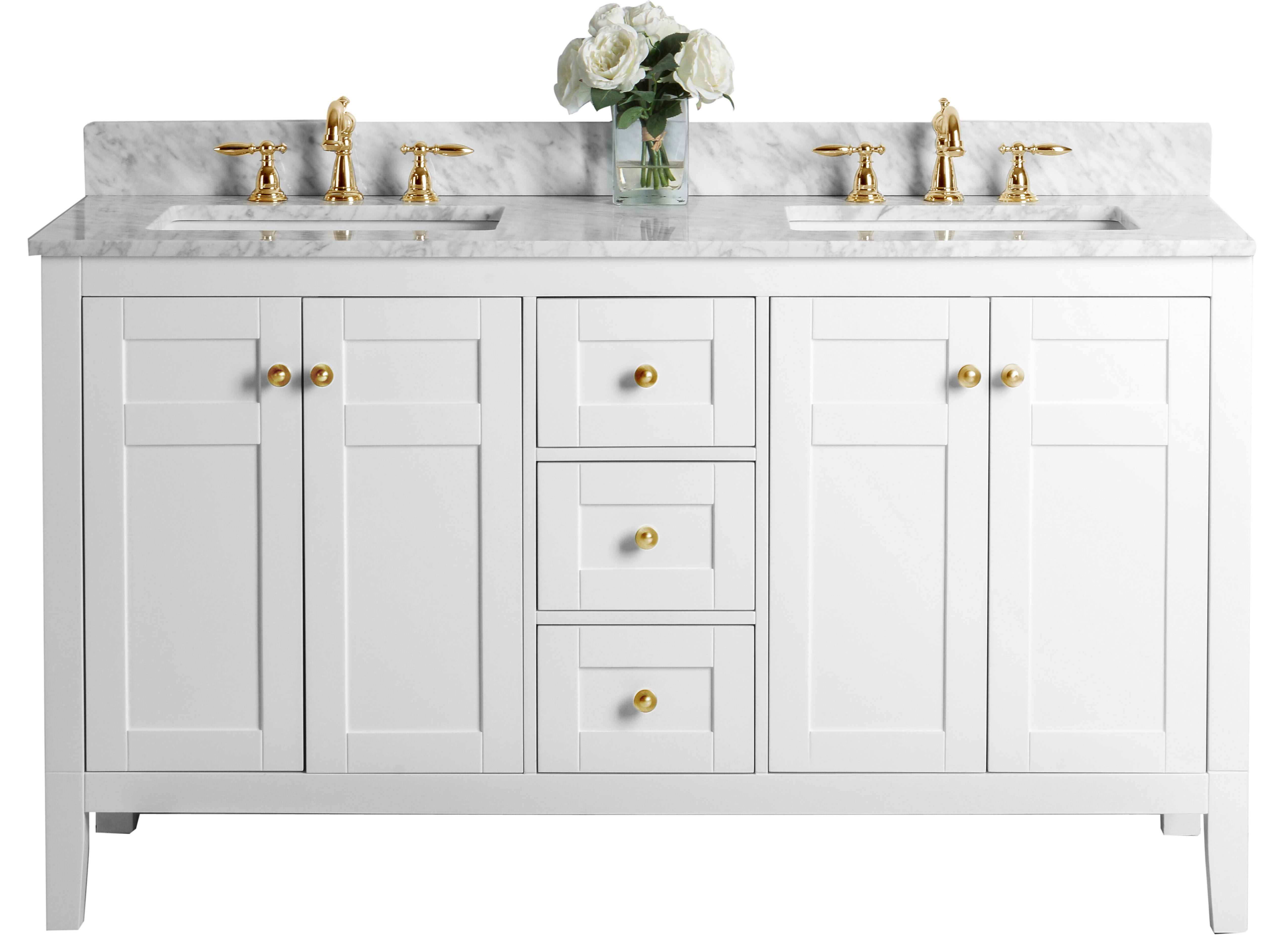 """60"""" Bath Vanity Set in White Finish with Italian Carrara White Marble Vanity top and White Undermount Basin with Gold Hardware"""