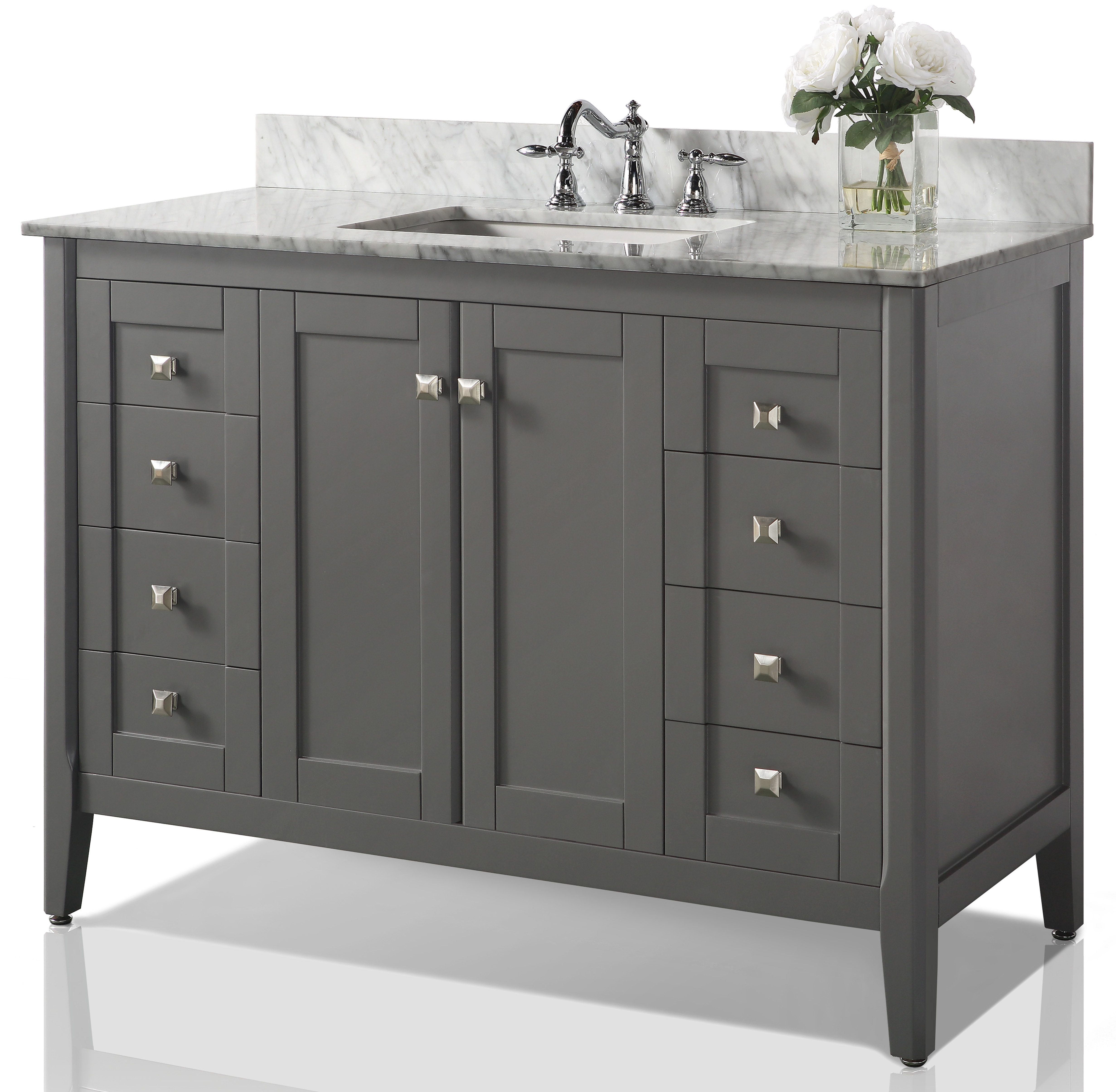 "48"" Bath Vanity Set in Sapphire Gray Finish with Italian Carrara White Marble Vanity top and White Undermount Basin"