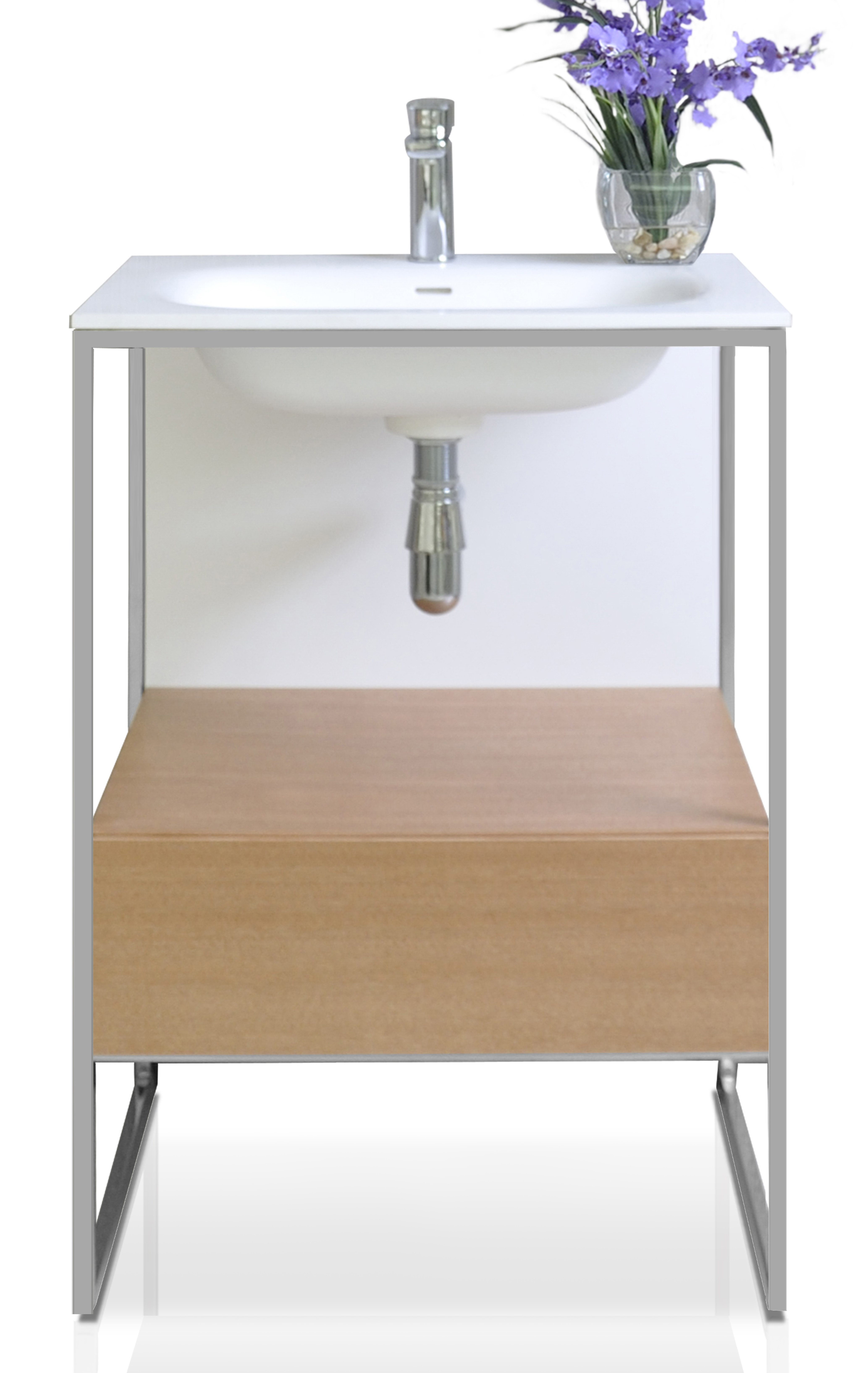 """24"""" Bath Vanity in Natural Walnut with White Matte Seamless Solid Surface Sink top and Mirror"""