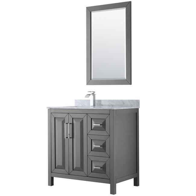 """36"""" Single Bathroom Vanity in Dark Grey with Countertop, Mirror and Medicine Cabinet Options"""