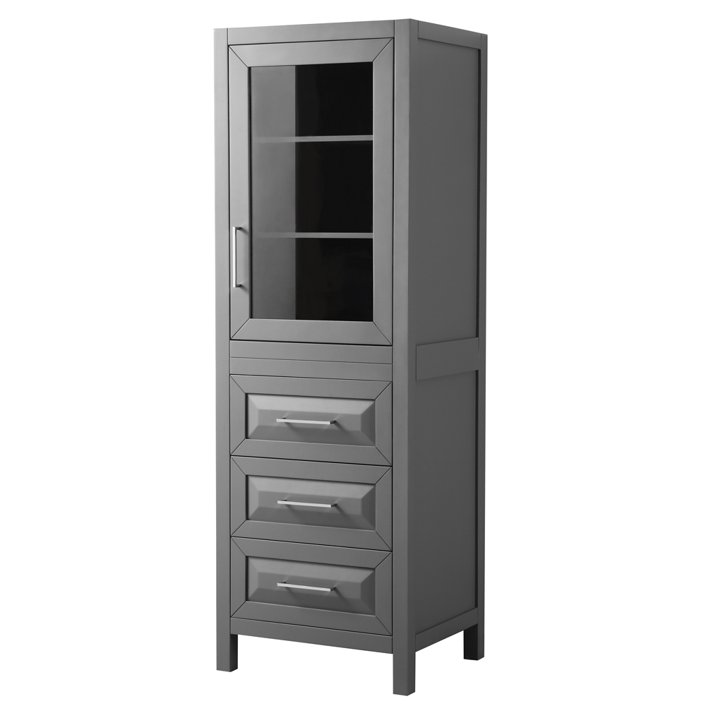 Linen Tower in Dark Gray with Shelved Cabinet Storage and 3 Drawers