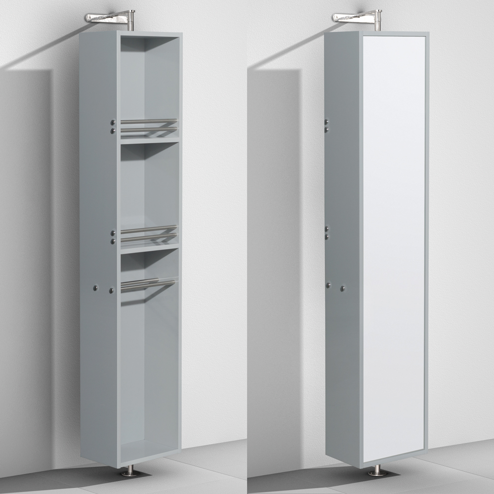 Linen Tower & 360 Degree Rotating Floor Cabinet with Full-Length Mirror in Dove Gray