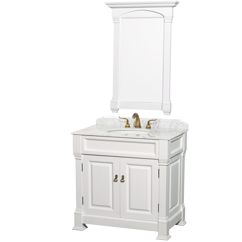 """Andover 36"""" Single Bathroom Vanity in White, Undermount Oval Sink, and 28"""" Mirror with Countertop and Linen Tower Options"""